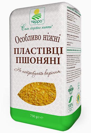 """Пластівці Пшоняні особливо ніжні """"Терра""""  0,75 кг крафт-пакет не потребують варіння"""