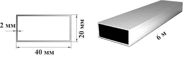 Труба  профильная алюминиевая 40 х 20 х 2 мм прямоугольная 6060 Т6 аналог АД31Т