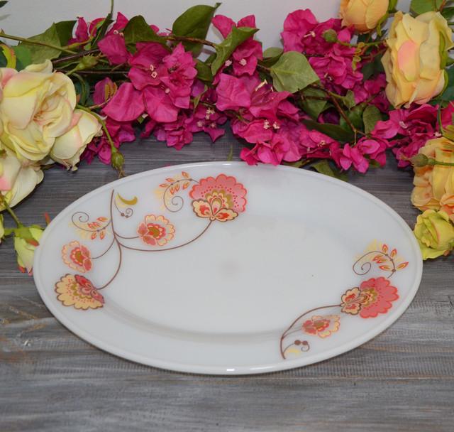"""Блюдо овальное """"Kameliya"""", стеклокерамика (фото)"""