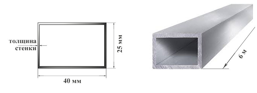 Труба  алюминиевая 40х25 мм 6060 Т6 прямоугольная