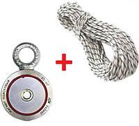 Двухсторонний поисковый неодимовый магнит F120*2, 140кг, РЕДМАГ ТРОС в подарок