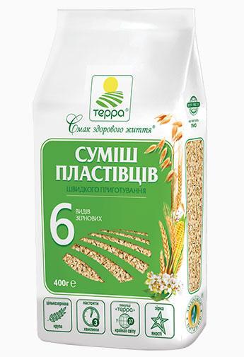 """Пластівці Суміш 6-злаків """"Терра"""" 0,4 кг"""