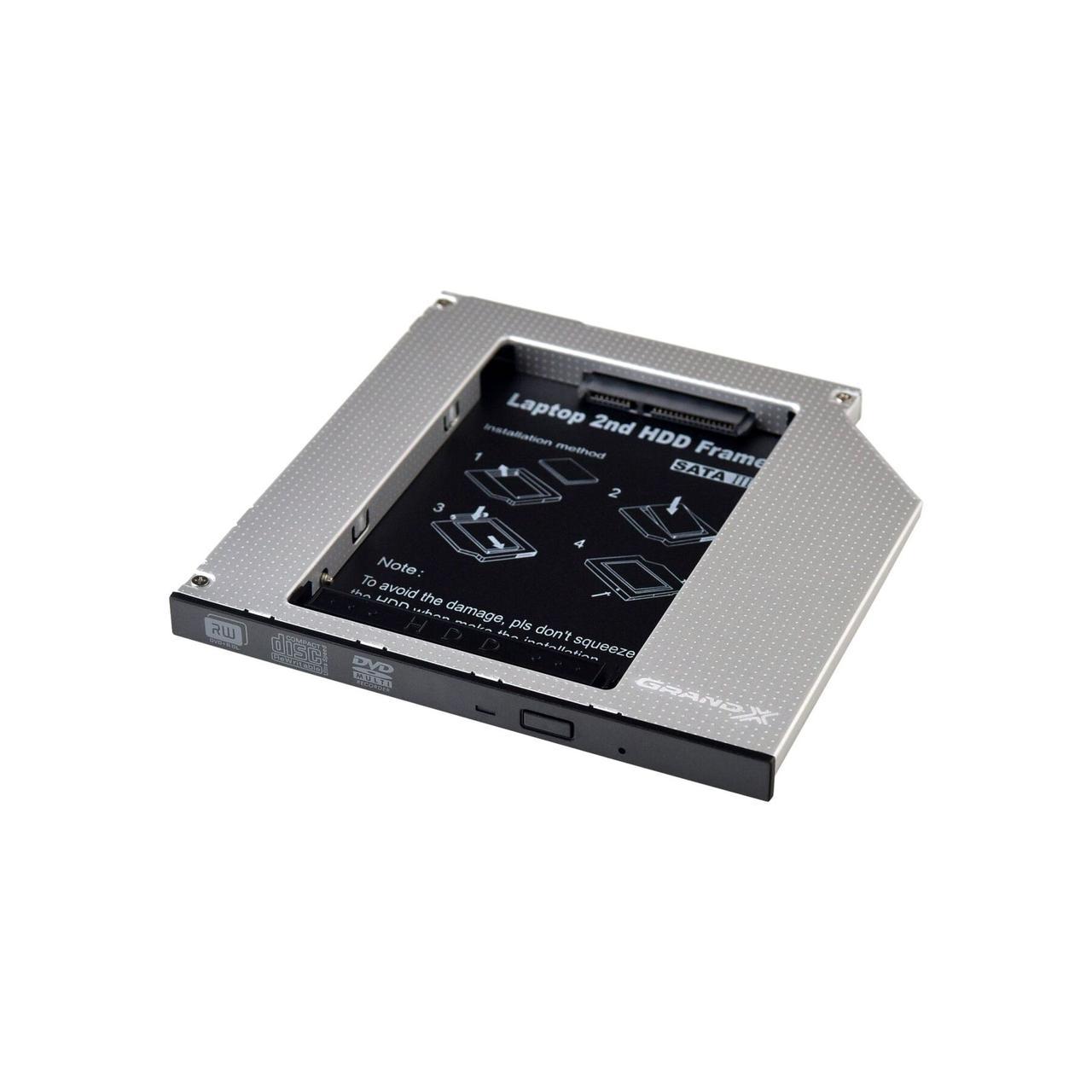 Шахта карман, optibay Grand - X HDD 2,5'' в отсек привода ноутбука, SATA/SATA3 Slim 9,5mm (HDC-24)