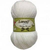 """Lanoso Baby Dream """"955"""" белый нитки для вязания"""