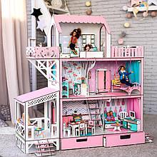 """Кукольный домик для Барби NestWood """"ЛЮКС"""" (терраса+балкон) 5 комнат (114 см), без мебели"""