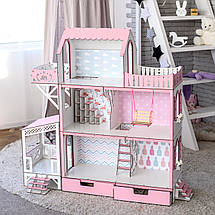 """Кукольный домик для Барби NestWood """"ЛЮКС"""" (терраса+балкон) 5 комнат (114 см), без мебели, фото 3"""