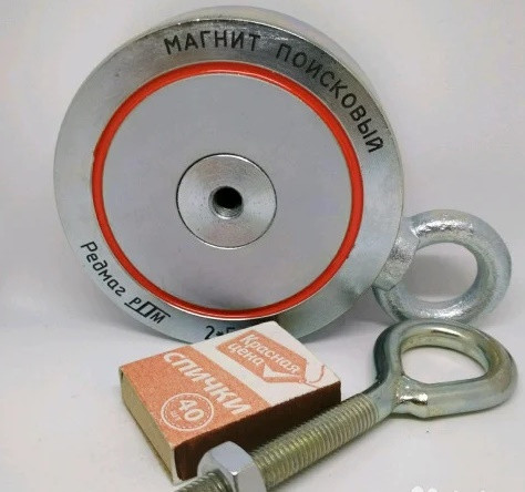 Двухсторонний поисковый магнит РЕДМАГ F400*2, ✔отрывное усилие 500кг ♕Доставка и ТРОС в подарок♕