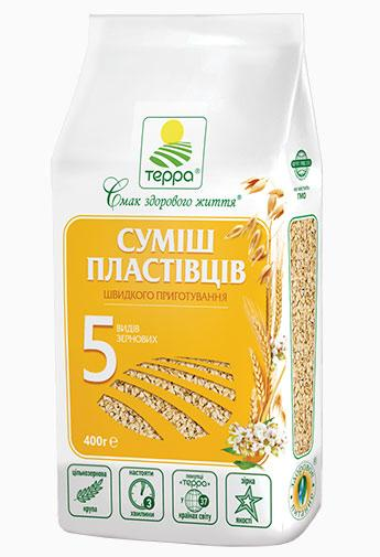 """Пластівці Суміш 5-злаків """"Терра"""" 0,4 кг"""