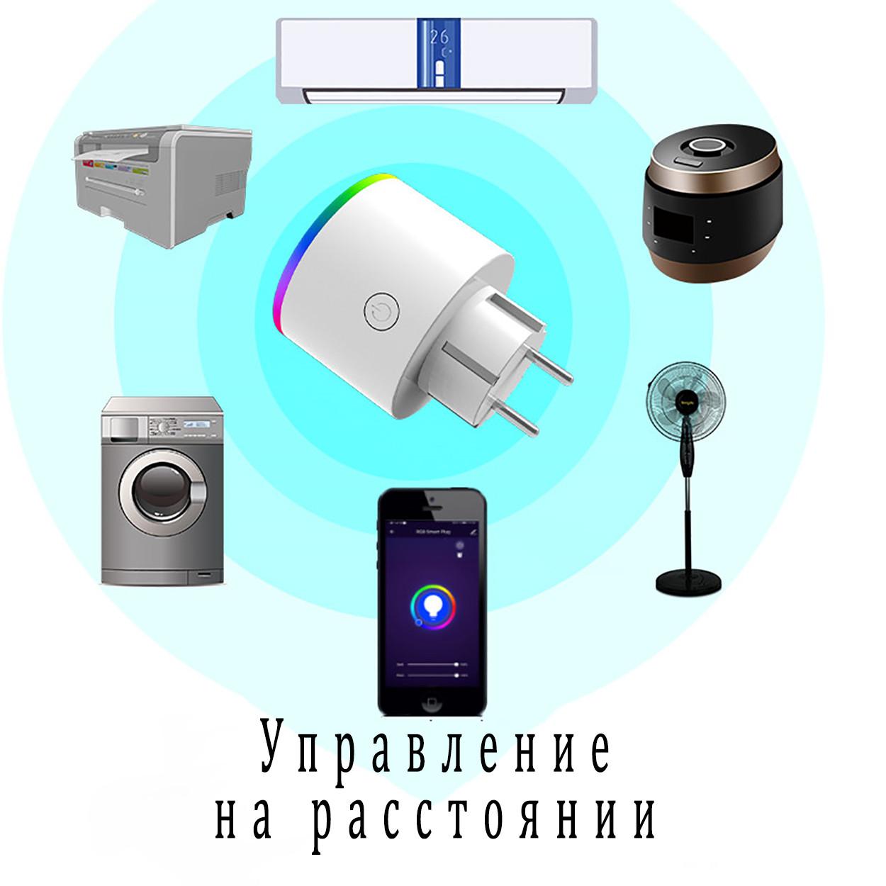 Умная розетка Wi-Fi 16А Wi-smart Plug LED с подсветкой розетка с таймером с голосовым управлением умный дом