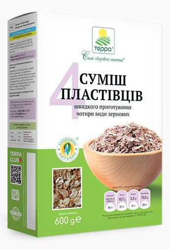 """Пластівці Суміш 4-злаків швидкого приготування """"Терра"""" 0,6 кг"""