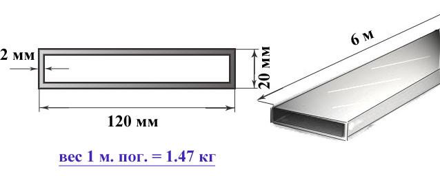 Алюминиевая труба прямоугольная 120х20х2 мм 6060 Т6 профильная АД31Т