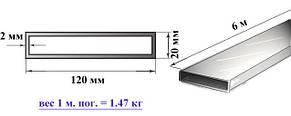 Алюминиевая труба прямоугольная 120х20х2 мм 6060 Т6 профильная АД31Т, фото 2