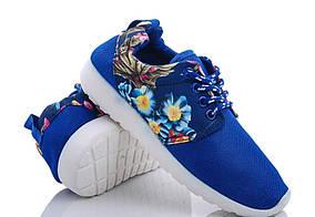 Кросівки для дівчинки текстильні сині з квітами Fashion розмір Тільки 31