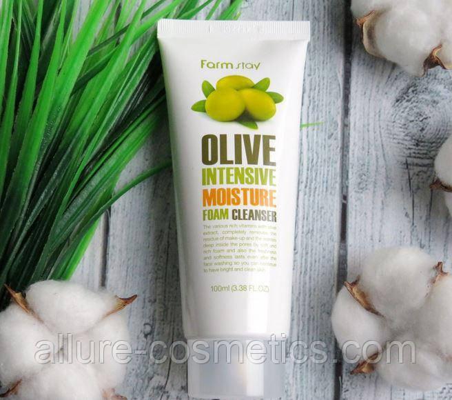 Очищаюча і зволожуюча піна з екстрактом оливи FARM STAY Olive Moisture Intensive Foam Cleanser