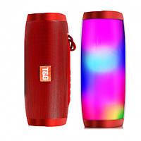 Беспроводная bluetooth колонка TG-157 Pulse 10 W с  влагозащитой и разноцветной подсветкой Красная