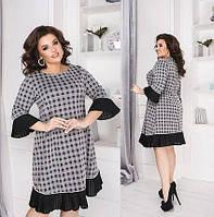 Красивое женское черно белое платье трикотаж 60, 62