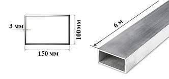 Труба  алюминиевая прямоугольная 150х100х3 мм 6060 Т6, фото 2