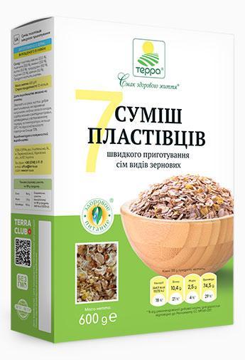 """Пластівці Суміш 7-злаків """"Терра"""" 0,6 кг швидкого приготування"""