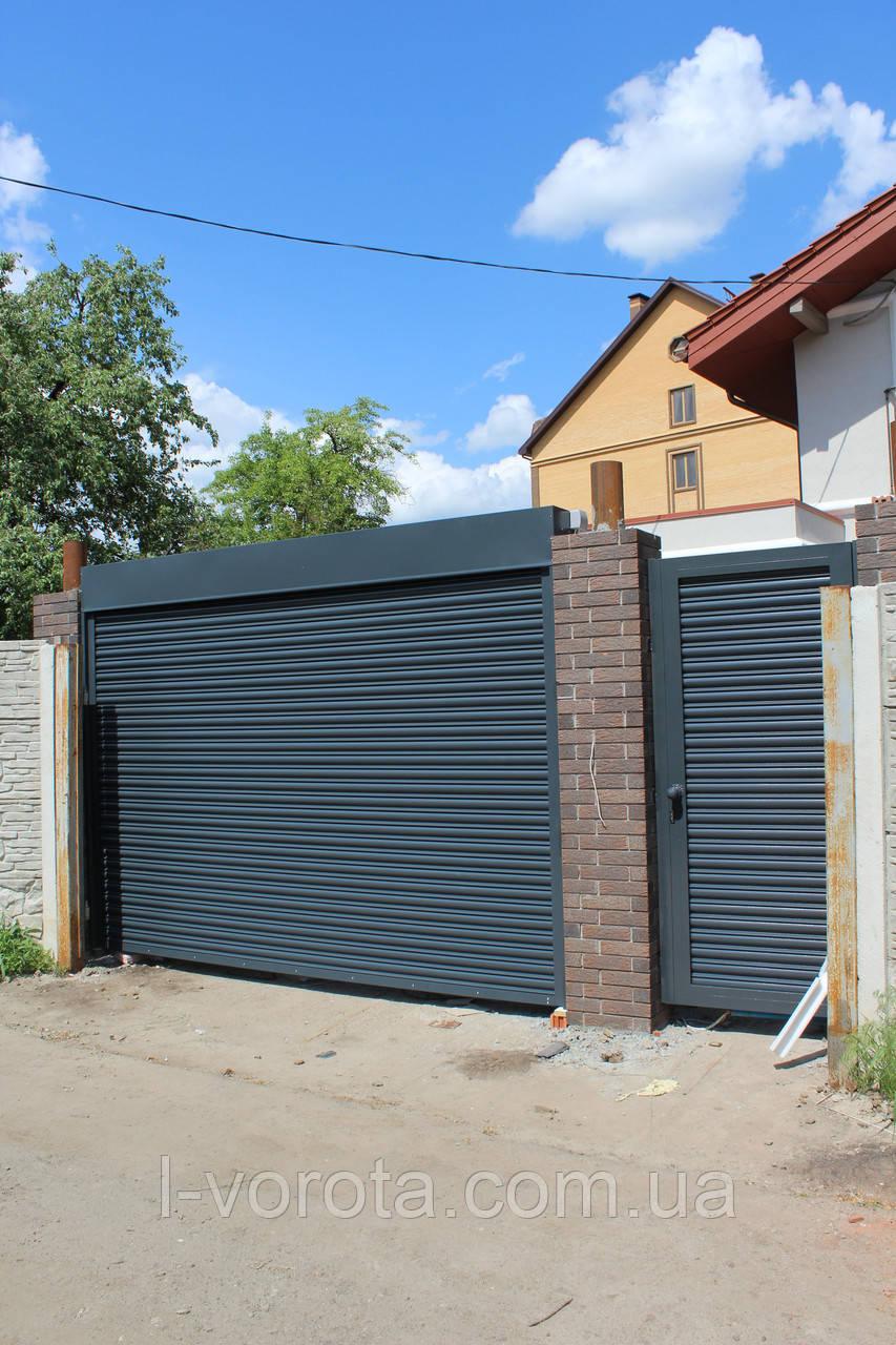 Ворота уличные рулонные (стальной профиль 76) ТМ HARDWICK (Хардвик) 3500 на 2300