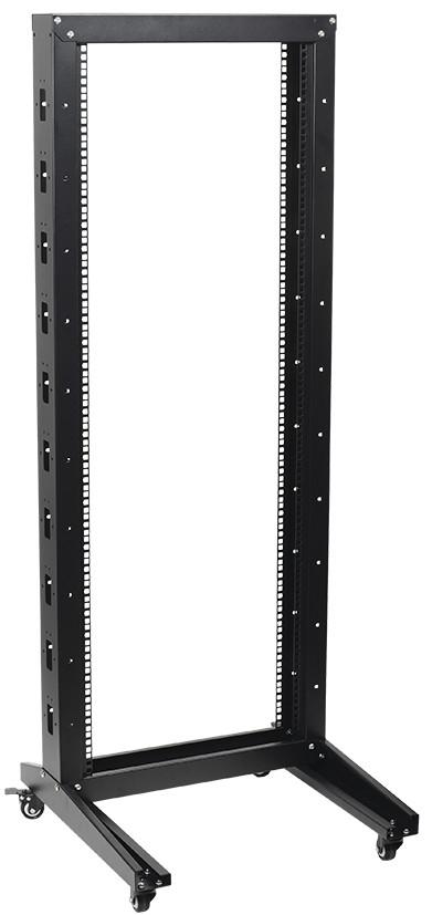 """Черная однорамная стойка на роликах 19""""42U ITK LF05-42U66-1R 600x600мм"""
