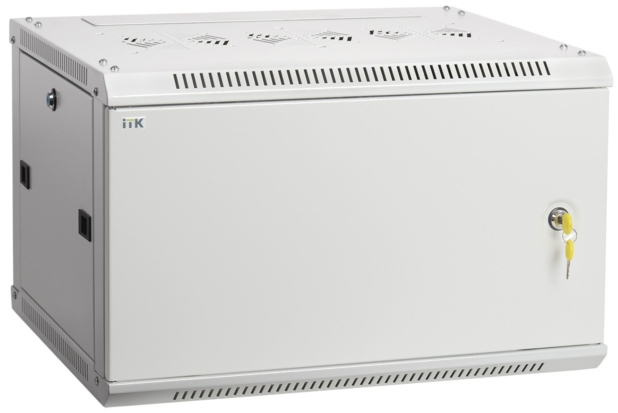 "Серый серверный шкаф 19"" ITK LWR3-09U66-MF LINEA W 9U 600x600мм"