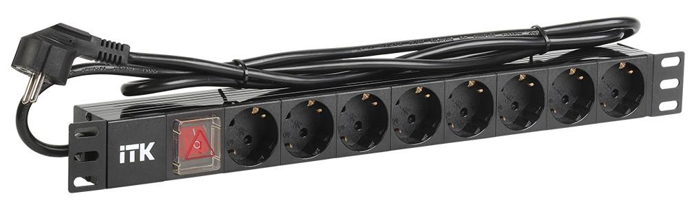 PDU-блок ITK PH12-8D1-P на 8 місць з вимикачем 1U (шнур 2м)