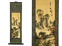 Подвесное панно для декора интерьера шелковое Деревенский пейзаж