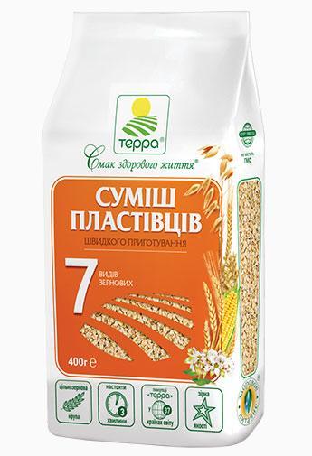 """Пластівці Суміш 7-злаків """"Терра"""" 0,4 кг"""