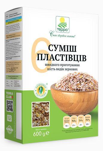 """Пластівці Суміш 6-злаків """"Терра"""" 0,6 кг"""