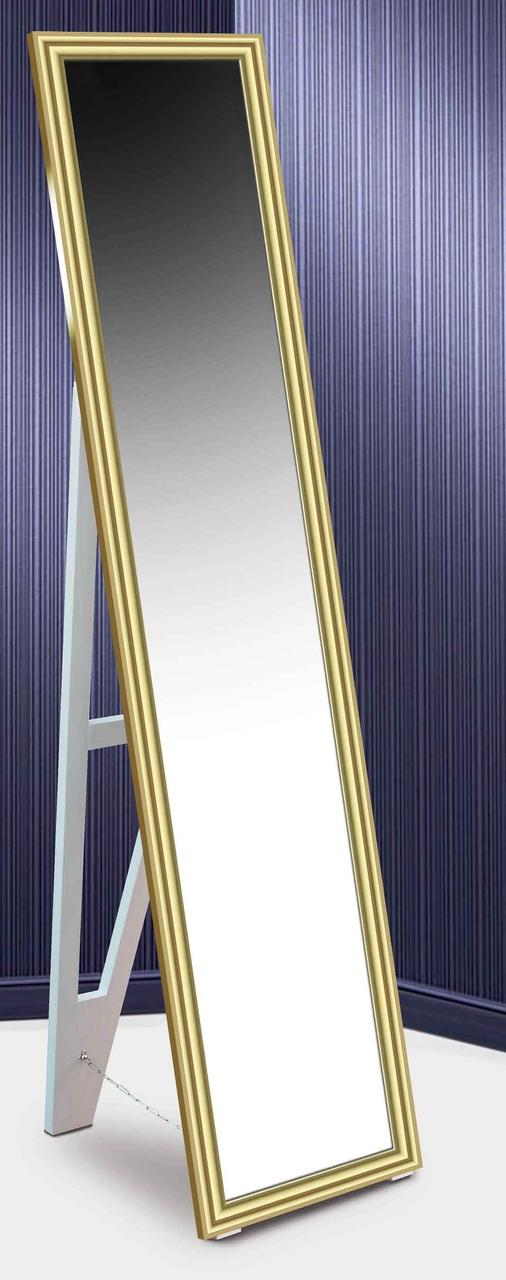 Зеркало напольное в раме Factura с деревянной подставкой Gold small glossy 45х169 золото