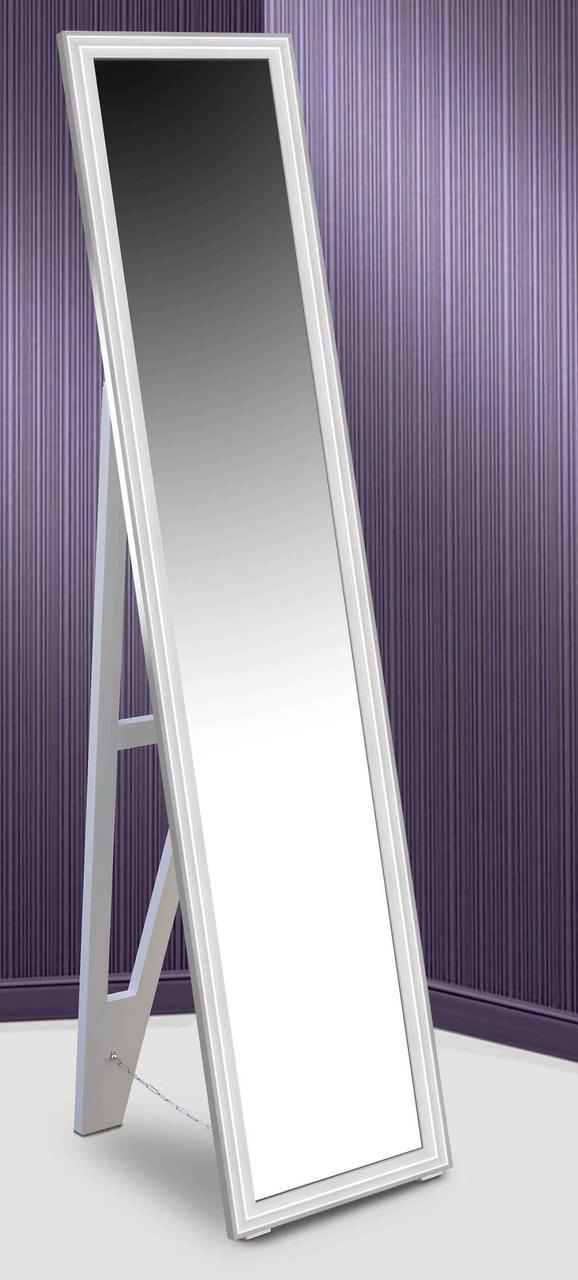Зеркало напольное в раме Factura с деревянной подставкой White small glossy 45х167 белый