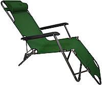 Шезлонг лежак садовый раскладной садовое кресло Bonro 178 см для сада и дома отдыха на природе зеленый