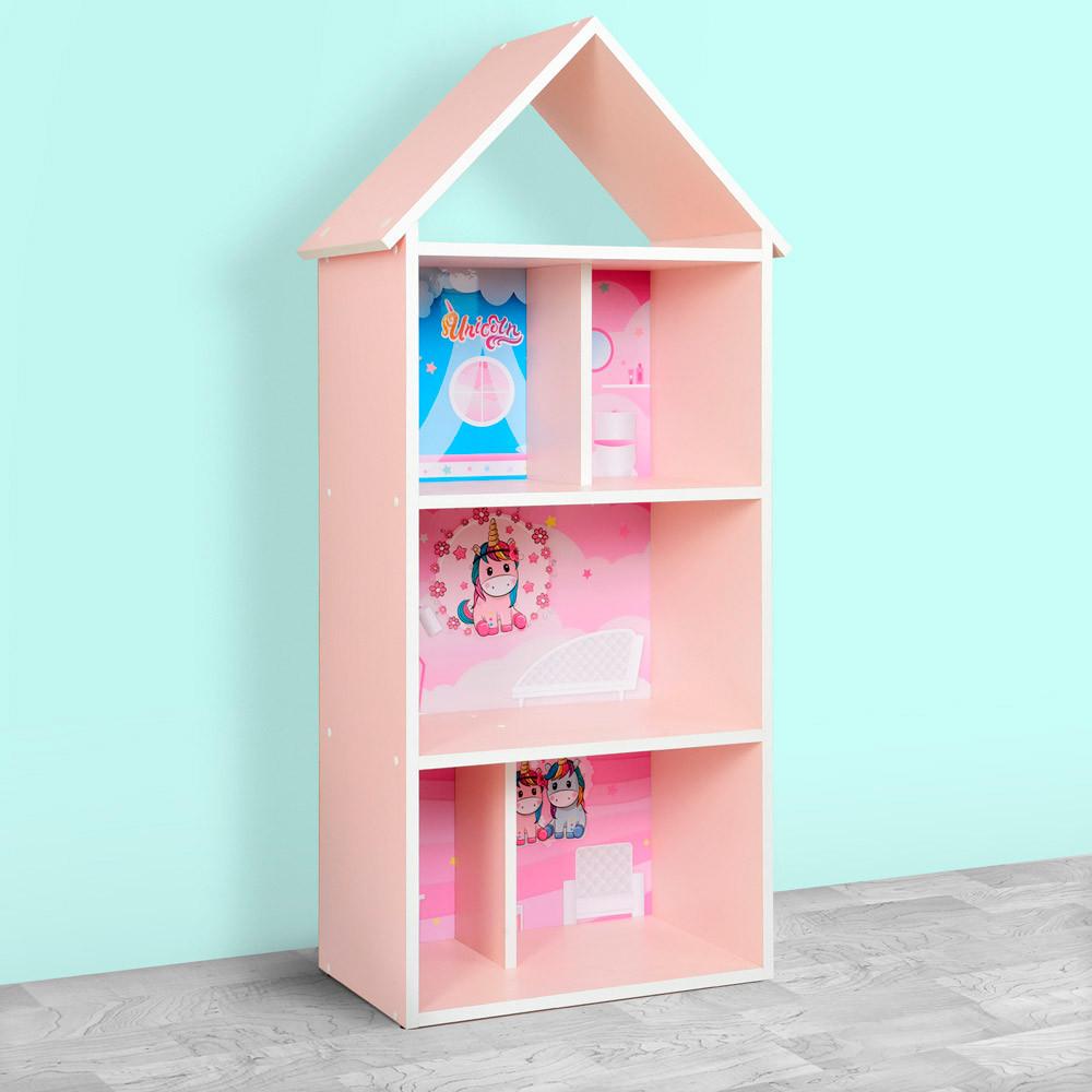 Домик-стеллаж-полка для игрушек и книг H 2020-4-1 Единорог розовый