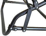 Шезлонг лежак сталевий міцний садове крісло на 178 см з підголовником навантаженням до 100 кг Темно-синій, фото 4
