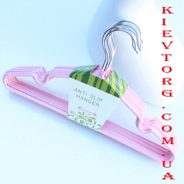 Плечики вешалки детские для одежды металлические с силиконовым покрытием пудра, 30 см, 10 шт