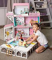 """""""ЛЮКС терраса+балкон+бассейн"""" кукольный домик NestWood для LOL/OMG/Барби, без мебели, розовый"""