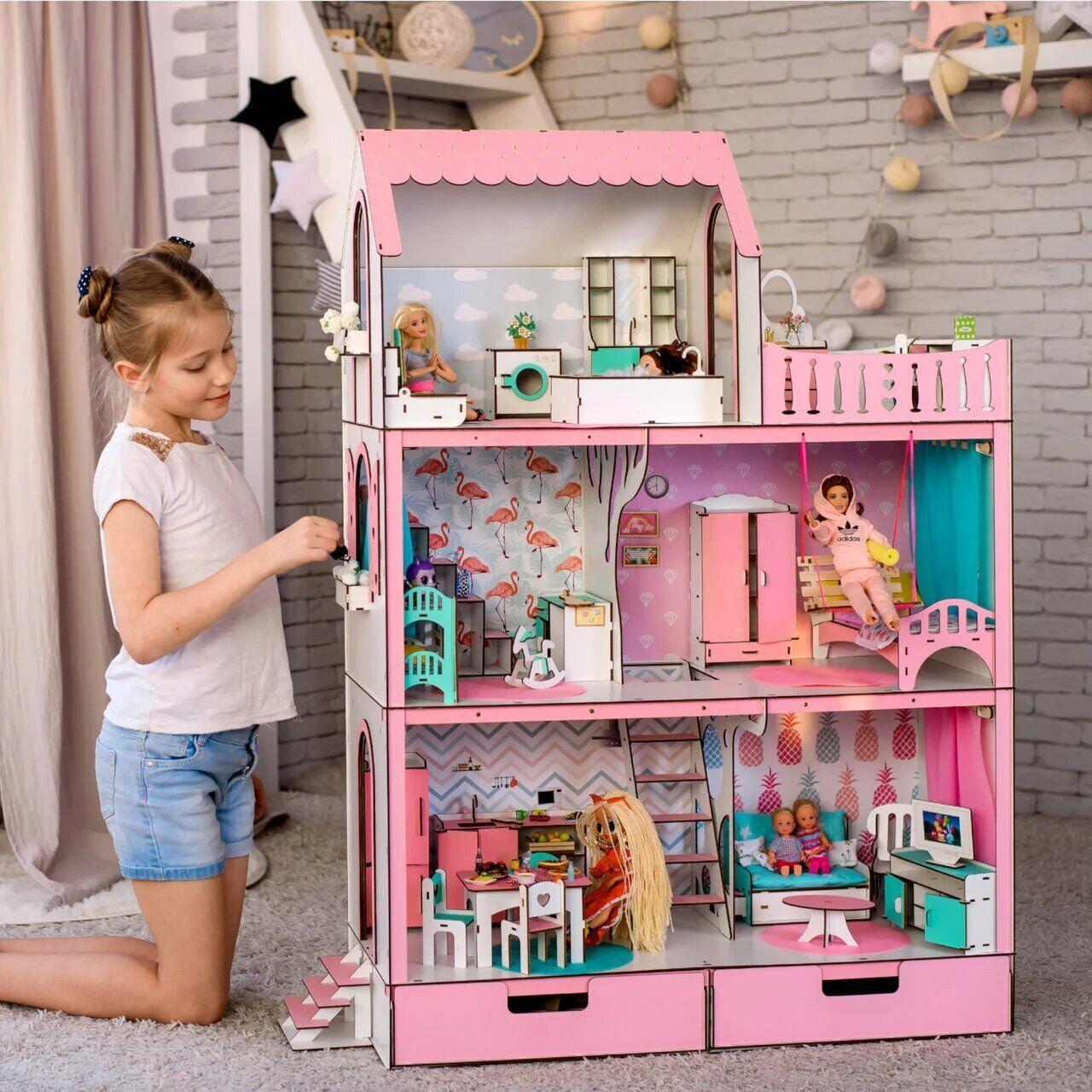 """""""ЛЮКС"""" кукольный домик NestWood для Барби, без мебели, розовый"""