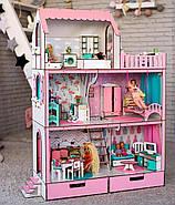 """""""ЛЮКС"""" кукольный домик NestWood для Барби, без мебели, розовый, фото 2"""