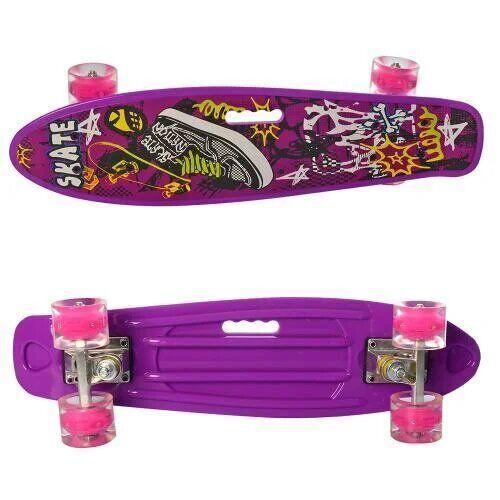 Скейт фиолетовый MS 0749-6 ПЕННИ55-14,5см, колеса ПУ, свет