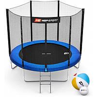 Батут для прыжков с внешней сеткой + мячи в подарок 244 см Hop-Sport 8ft синий