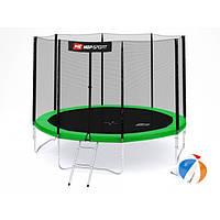 Батут для прыжков с внешней сеткой 305 см  + мячи в подарок Hop-Sport 10ft зеленый, фото 1