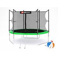 Батут для прыжков с внутренней сеткой 305 см  + мячи в подарок Hop-Sport 10ft зеленый