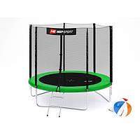 Батут для прыжков с внешней сеткой + мячи в подарок 244 см Hop-Sport 8ft зеленый