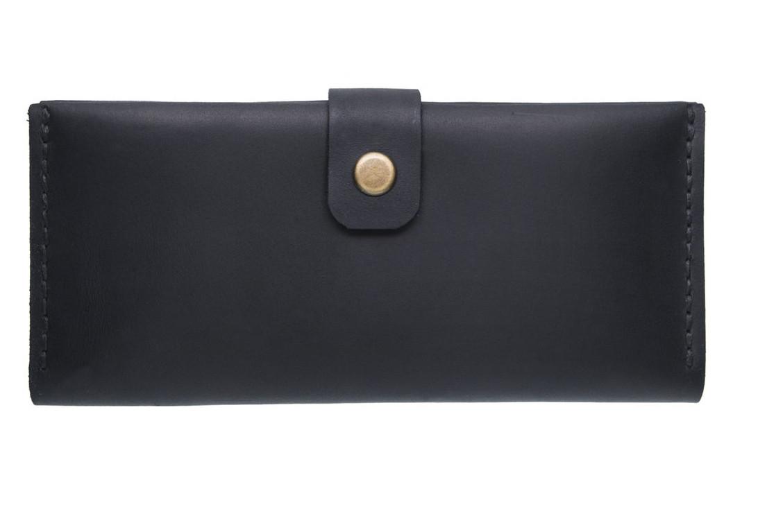 Большой кожаный женский кошелек Biggy черный