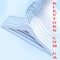 Вешалки плечики тремпеля деревянные детские белые для одежды, костюмов, платьев, свитеров, 32 см