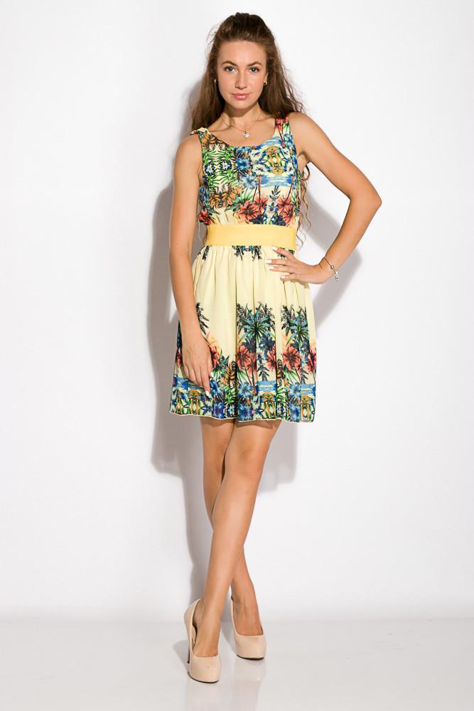 Платье женское 964K030 с тропическим принтом (Желтый)