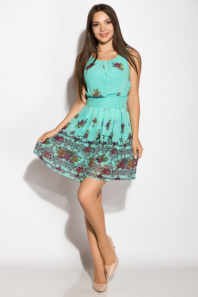 Легкое платье из шифона 964K034 (Бирюзовый)