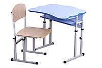 Комплект стол парта +стул ученический 1-местный антисколиозный  регулируемый по высоте №4-6 ГС-ХСС