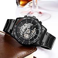 Механические мужские стильные наручные часы Winner Skeleton