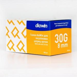 Голки diaWin для інсулінових шприц-ручок 8 мм.